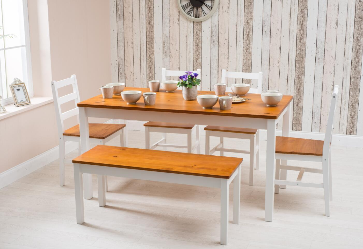 Furnituremaxi Solid Pine Wood Dining Table 4 Chairs 1 Bench Set Kitchen Home Furniture
